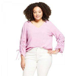 NWT Ava & Viv Ruched Sleeve Blouse Plus X Lavender